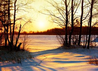 Winter nature, sunset