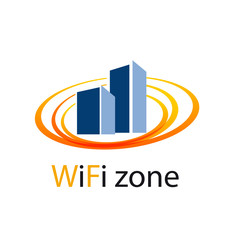 Vector logo WiFi Zone in the city