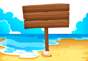 An empty wooden signboard at the sea