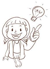A plain sketch of a smart girl