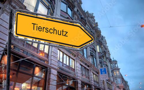 canvas print picture STrassenschild 23 - Tierschutz