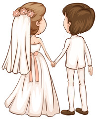 A simple sketch of a newly wed couple