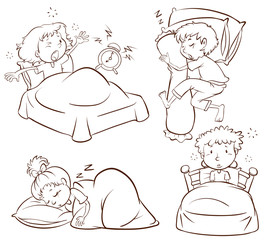 A plain sketch of kids sleeping and waking up early