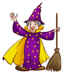A wizard holding a broomstick