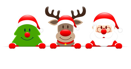 Tree, Rudolph & Santa Banner