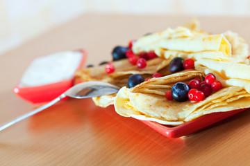 tasty  pancakes with berries