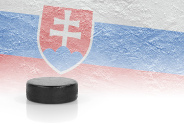 Hockey puck and Slovak flag