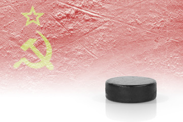 Hockey puck and the Soviet flag