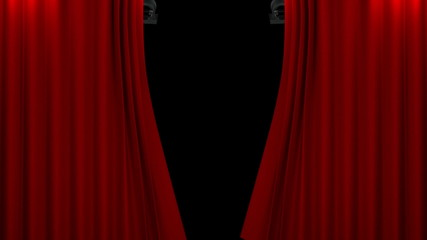 red curtain with spotlight opening scene