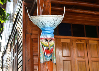 Ghost mask, the belief  of sacred festival in North East Thailan