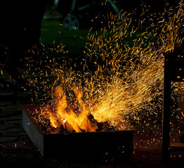 BBQ fire with sparks