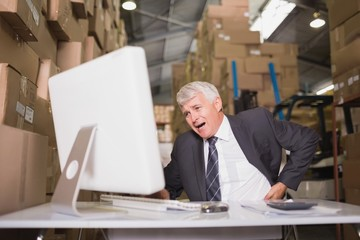 Warehouse manager using computer