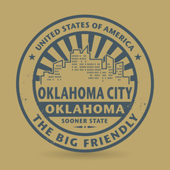 Grunge rubber stamp with name of Oklahoma City, Oklahoma