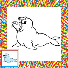 Cartoon fur seal coloring book with border