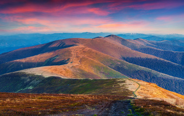 Colorful autumn sunset in the mountain ridge