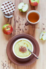 Homemade applesauce and chestnut jam, selective focus