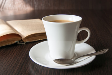 morning cup of coffee and book