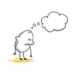 Nachdenkliches Strichmännchen mit Gedankenblase