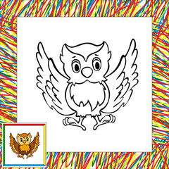 Cartoon owl coloring book with border