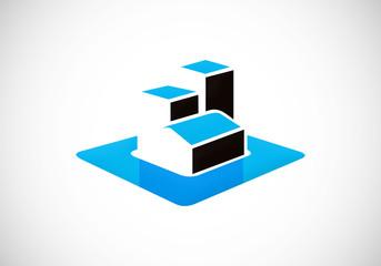 3D home building construction vector logo