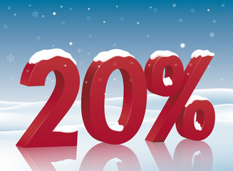 20% discount symbol with snow. Poster to advertise sales