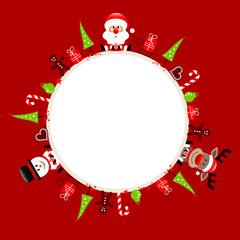 Santa, Rudolph & Snowman Symbols Frame Red