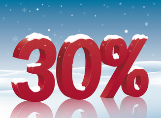 30% discount symbol with snow. Poster to advertise sales