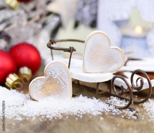 canvas print picture Weihnachten Schlitten Schnee