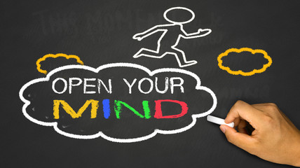 open your mind concept:small person on idea cloud