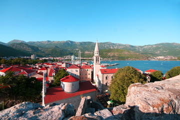 red roofs of Budva in Montenegro, citadel
