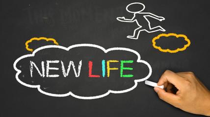 new life concept:small person on idea cloud