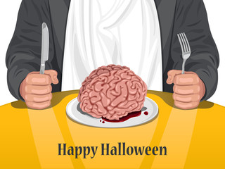 Happy Halloween - Man eating Brain vector