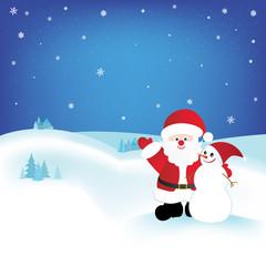Christmas card with Santa and snowman