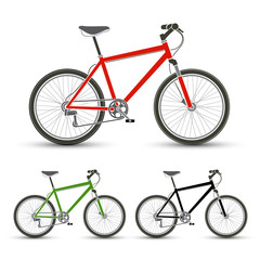Mountain Bicycles set vector illustration