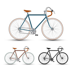 Vintage Style Bicycles set vector illustration