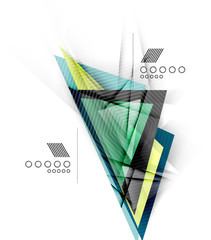 Color triangles, unusual abstract background