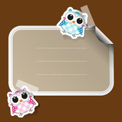 Cartoon owls sticker with place for text