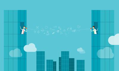 Vector businessman online communicatiion connection business