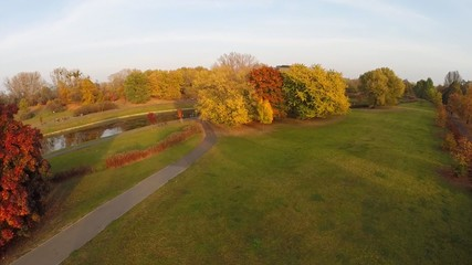 Autumn Park, aerial footage view