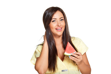 young sun-tanned woman with slice of watermelon