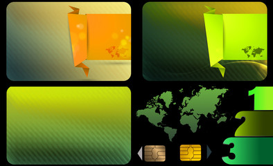 Set of business card.Green abstract background.