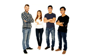young friends with arms folded standing over white background