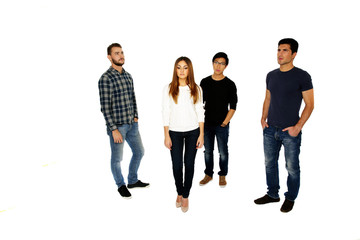 Group of a young people isolated on a white background