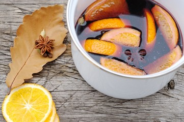Preparation of mulled wine in the open air.