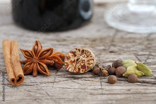 Fotobehang Kruiderij Fragrant spices for mulled wine preparation.