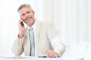 Happy Businessman Talking At Phone