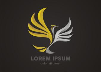 Gold eagle 3D logo vector