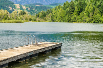 Wooden Jetty on Mountain Lake