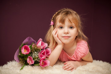 emotions of the girl with a bouquet of flowers