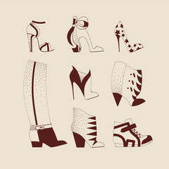 collection of woman shoes for day and evening